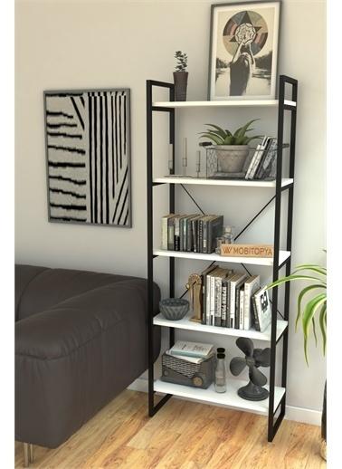 Mobitopya Nilamu Beyaz 65 cm Kitaplık, Metal Aksamlı, Organizer, Ofis, Ev, 5 Raflı Kitaplık Beyaz